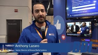 Wowza booth at NAB with Anthony Lazaro.