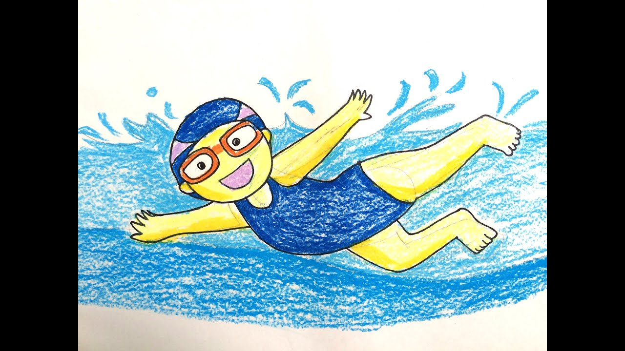 Painting summer for kids how to draw a boy swimming pool b v ng i t p b i art for kids How to draw swimming pool water