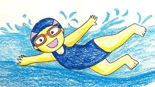Painting summer for kids   How to draw a boy swimming pool   Bé vẽ người tập bơi   Art for kids