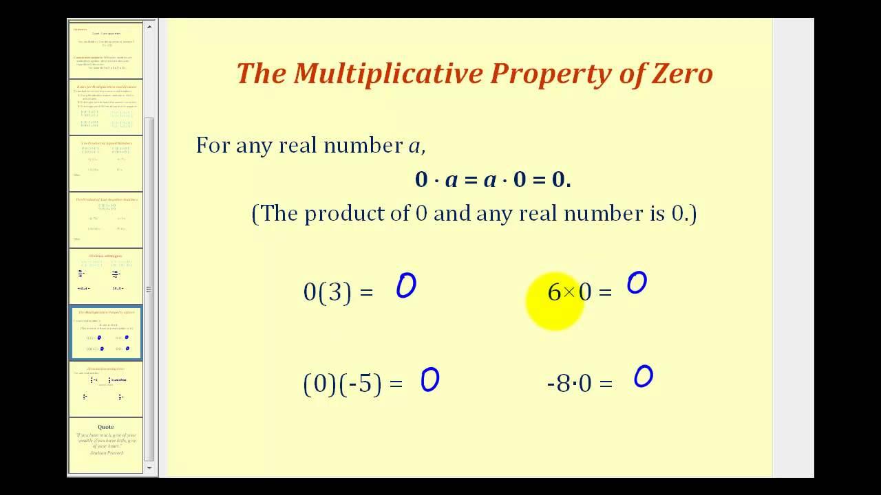 zero property definition mathematics of investment