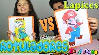 ROTULADORES VS LAPICES CHALLENGE!! marker challenge Zarolakids