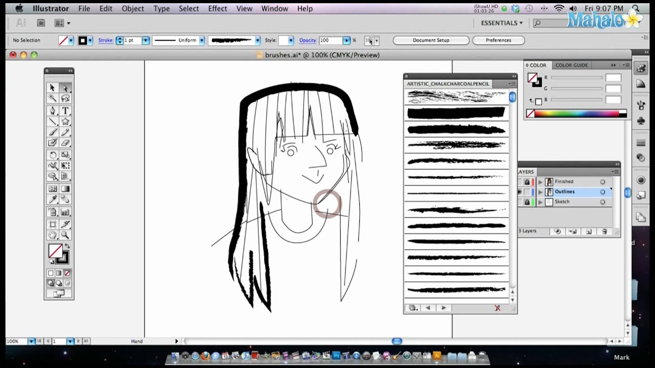Drawing Lines With The Pen Tool : How to use brushes in adobe illustrator youtube