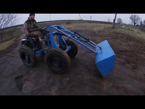 Дэнчик сделал самый дешёвый трактор погрузчик из мотоблока и того что было