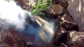 [Э.Т.О.] - Парафин в огонь - Мишаня на даче  | НеФормат(Подлил немного жидкости с парафином в мангал - думал угли быстрее будут, а тут дым коромыслом... (Видео..., 2015-07-05T16:50:28.000Z)