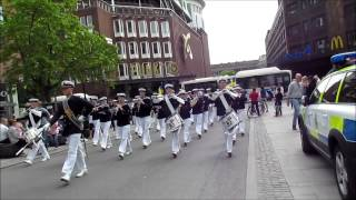 "Royal Swedish Navy Cadet Band - parade through Västerås Sweden at ""musikRum"" festival 2013"