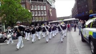 """Royal Swedish Navy Cadet Band - parade through Västerås Sweden at """"musikRum"""" festival 2013"""