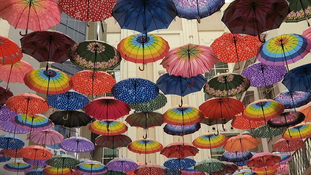 The Dubai Shopping Mall Waterfall Umbrella Ceiling