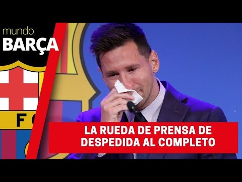 La rueda de prensa de despedida del Barça de Leo Messi al completo