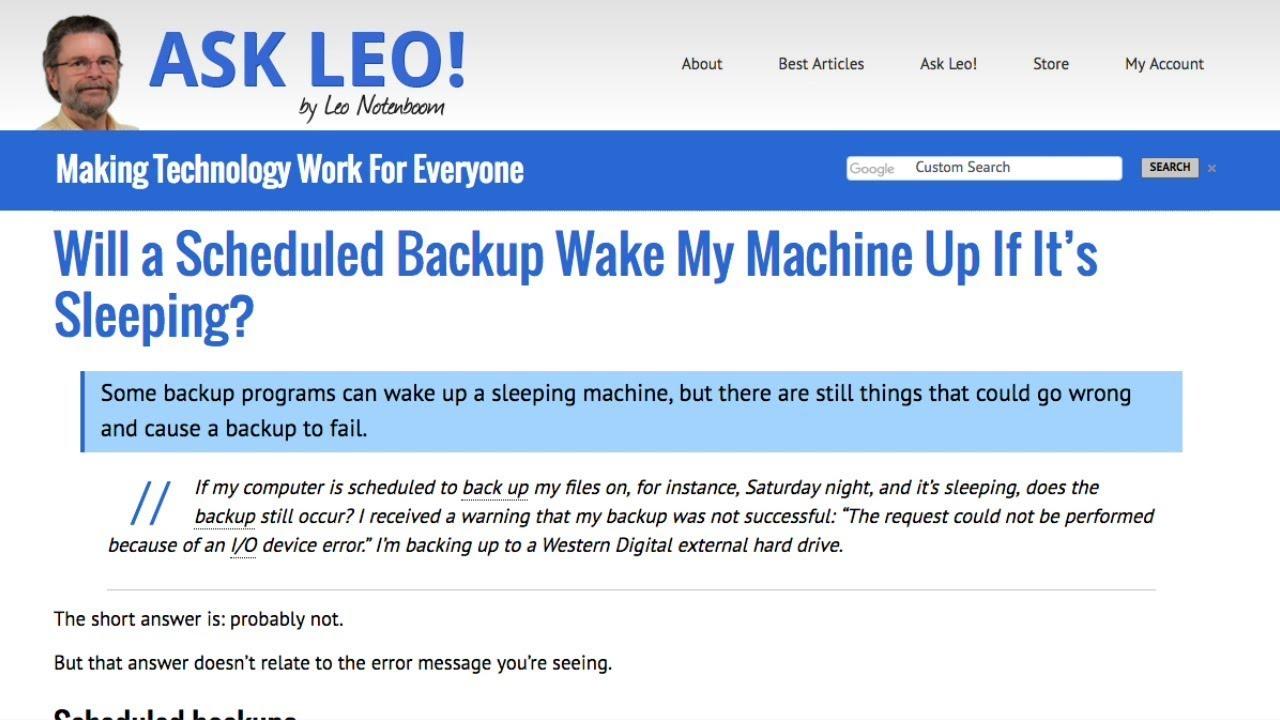 Will a Scheduled Backup Wake My Machine Up If It's Sleeping