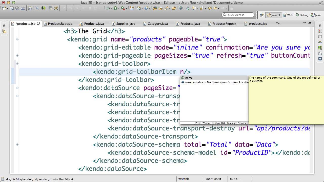 Getting Started With The Kendo UI JSP Wrappers - Episode 4
