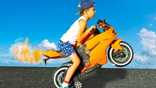 Artem and Best Collection Stories about Sportbike and toys for Children