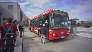 Sweden, Stockholm, bus 583 ride from Arlanda Airport Terminal 2 to Märsta train station