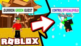 FIRST GREEN GUEST SIGHTING!!! *HE CONTROLLED ME* (Roblox Admin Commands)