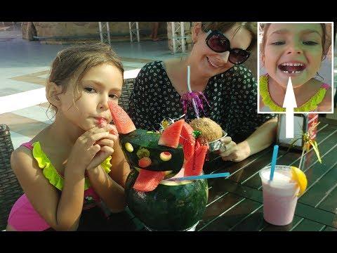 Elifin dişi çıktı. Aqua parkta karpuz kokteyl yaptırdık.Dondurma show, eğlenceli çocuk videosu