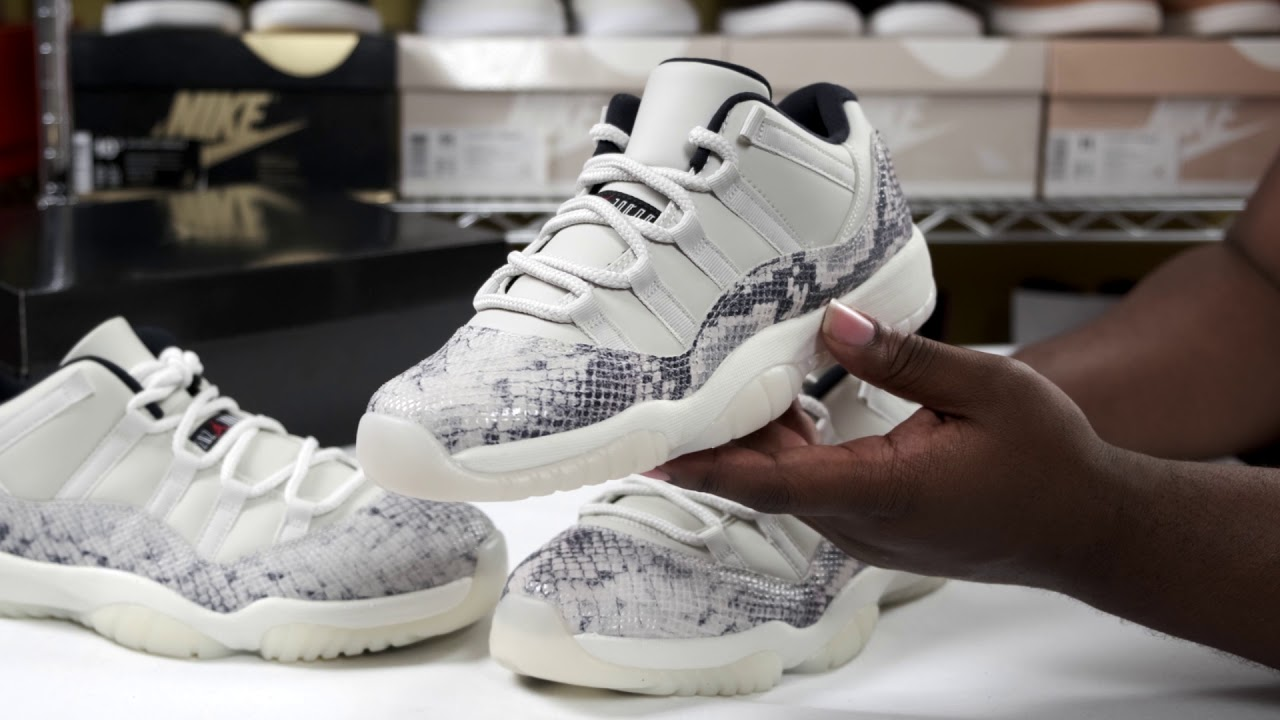 nike air jordan retro xi 11 low light bone snakeskin
