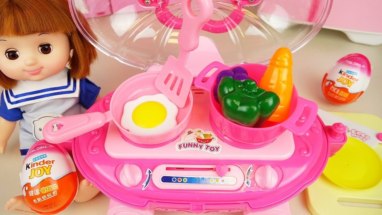 Baby doll pink kitchen cart and cooking food play Doli house