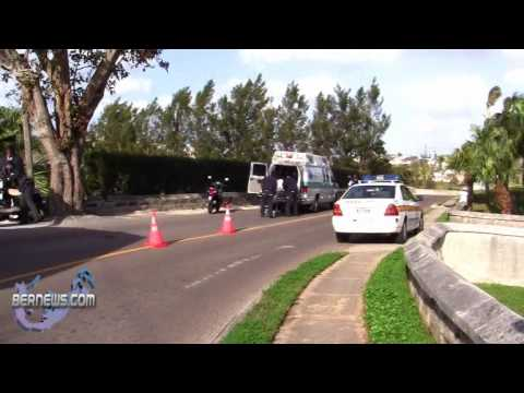 Emergency Vehicles Attend Accident Devonshire Bermuda Feb 15th 2011