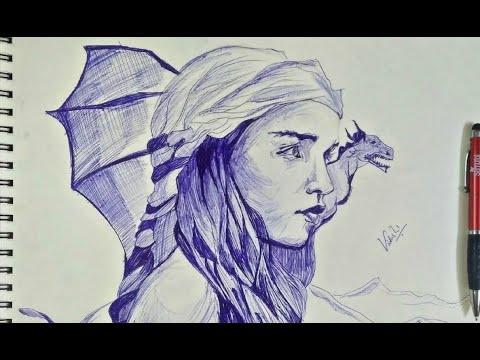 Daenerys || khaleesi  sketch - game of thrones - ball point art / time lapse , sketch art tutorial | thumbnail