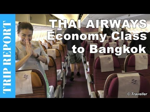 Thai Airways Boeing 777 Economy Class flight review to Bangkok Suvarnabhumi Airport - HS-TKQ