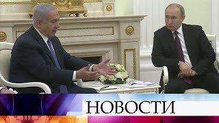 Владимир Путин проводит в Кремле переговоры с премьер-министром Израиля Биньямином Нетаньяху.
