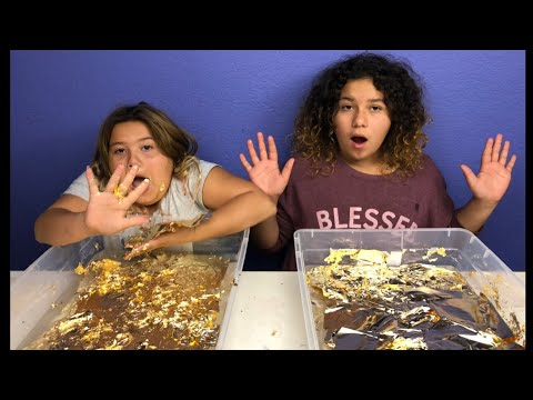 MIXING 200 GOLD LEAF FOILS INTO 4 GALLONS OF GIANT CLEAR SLIME!