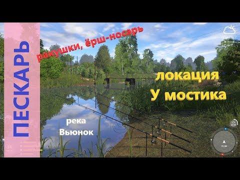 Русская рыбалка 4 - река Вьюнок - Пескарь, ракушки и ёрш-носарь