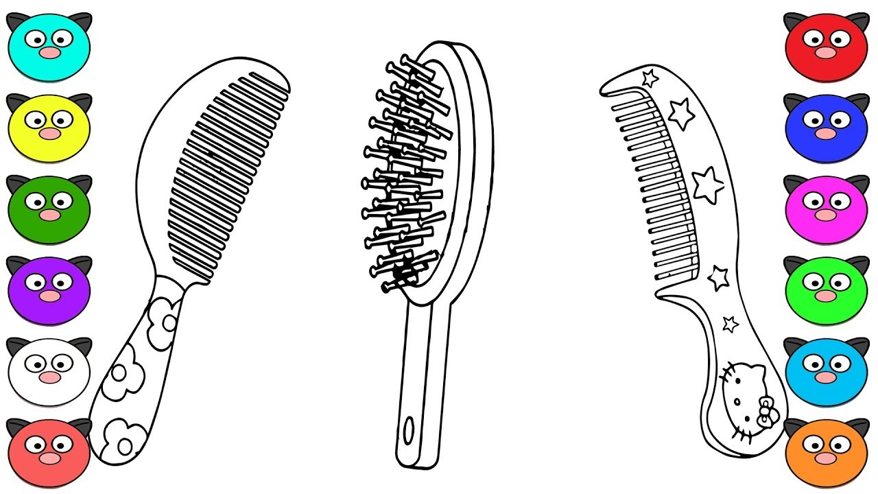 coloring pages for kids how to draw hairbrush learning