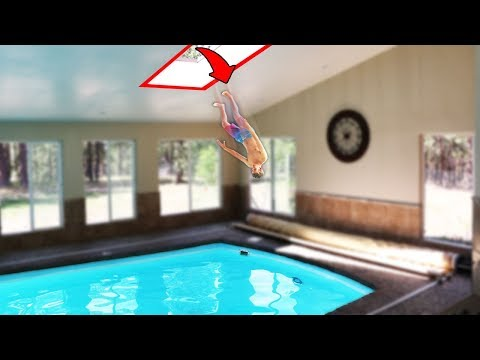 Secret Roof Jump to Indoor Pool!! (DANGER ALERT)