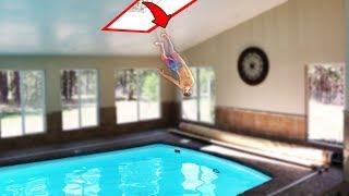 Secret Roof Jump to Indoor Pool!! (DANGER ALERT)