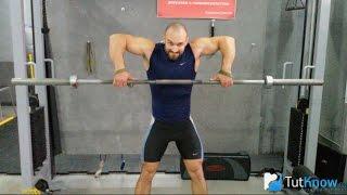 видео Тяга штанги к подбородку широким и узким хватом, техника выполнения