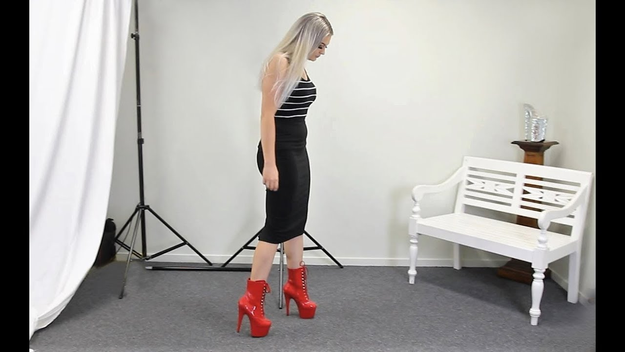 5eb88fb48 Unboxing Walking In 7 Inch Red Pleaser Adore 1020 High Heel Ankle ...