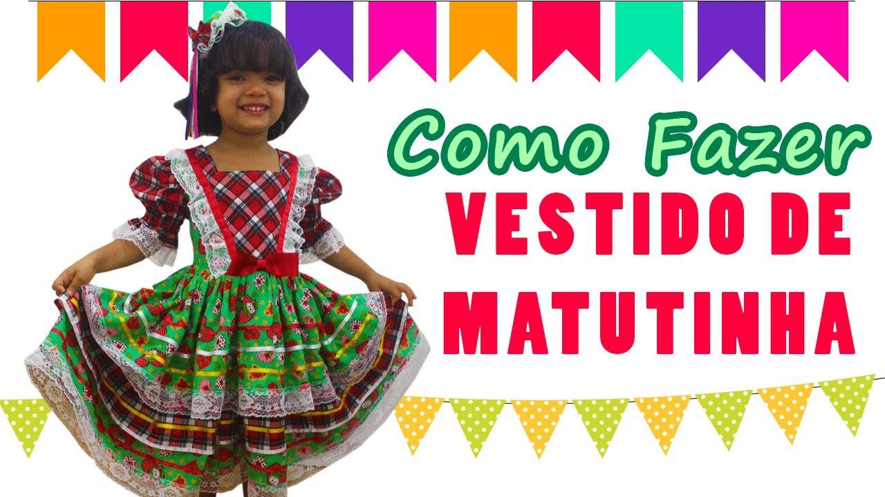 🌸 Como Fazer Vestido Caipira Infantil - Festa Junina  0e96c89d13b