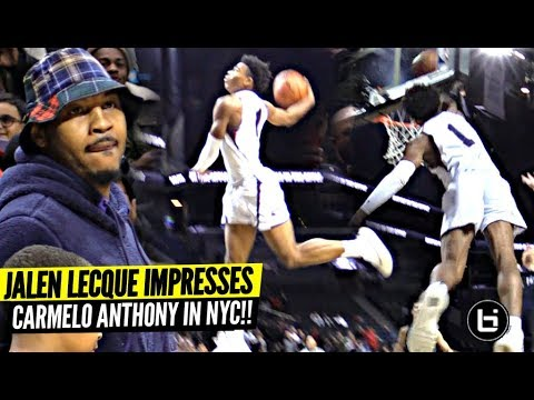 Jalen Lecque Jumps OVER Player w/ Carmelo Anthony Watching!!