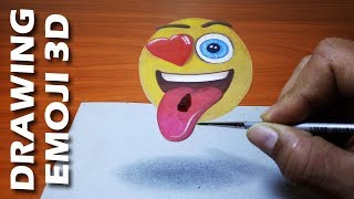 How to Draw A Floating Emoji Icon Trick Art on Paper | Amazing 3D Drawing Art