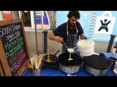 "Thumbnail: South Indian Street Food: Masala and Egg Dosas with Sambar & Coconut Chutney by ""Dosa Days"", London."