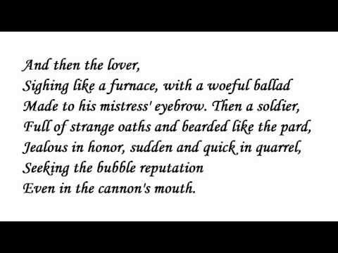 'Seven Ages of Man' by William Shakespeare poetry reading