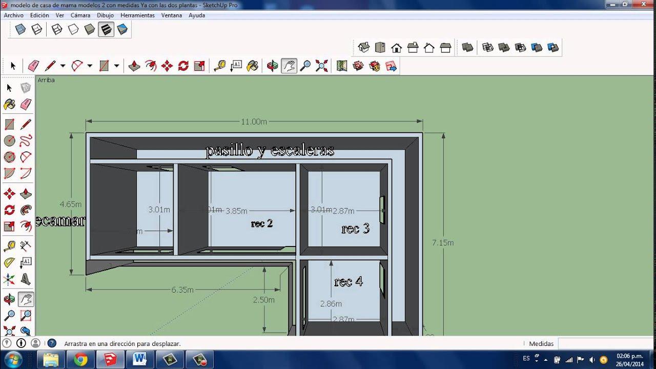 Dise o de casa de dos plantas con sketchup pro youtube for Disenos de casas de dos plantas