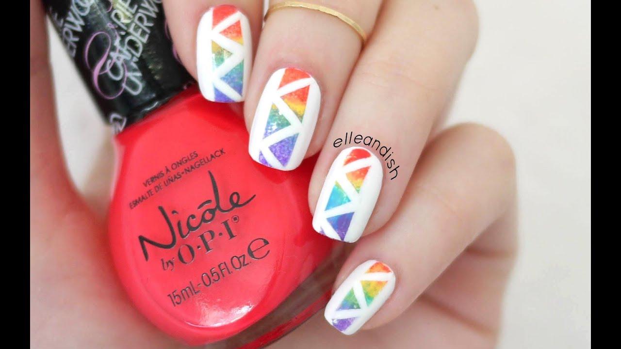 Easy Geometric Rainbow Nails Youtube
