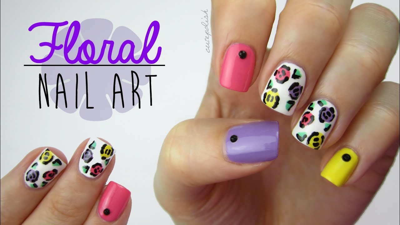 Colorful Floral Nails (using a toothpick!) - YouTube