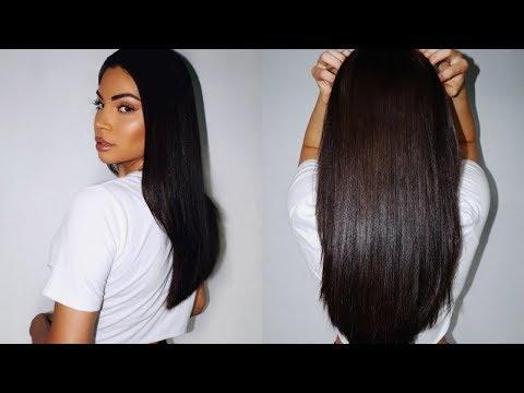 My Sleek, Shiny Straight Hair Routine♡ VLOG thumbnail