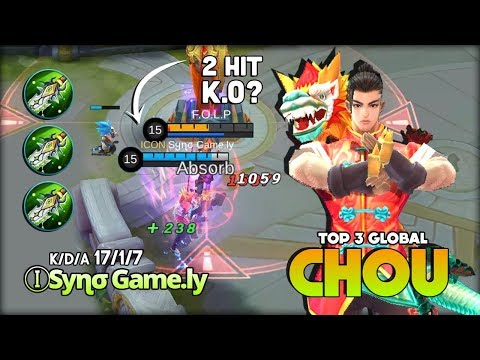 17 Kill! 3 Blade of Despair for Chou! ⒾSყɳσ Game.ly Top 3 Global Chou ~ Mobile Legends