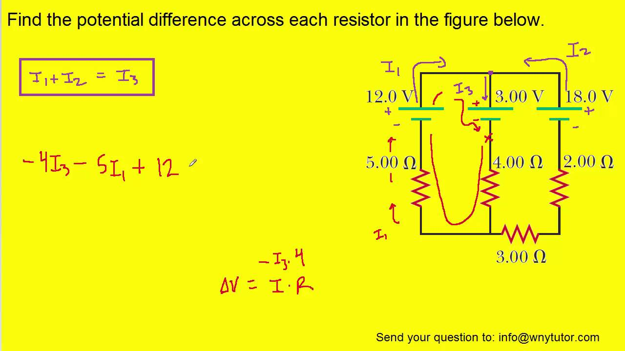 Find The Potential Difference Across Each Resistor In Figure What Is Equivalent Resistance Of Five Resistors Circuit Below