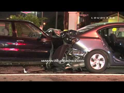 Elderly Driver Rear-Ends Car & Causes Chain Reaction / Bellflower   RAW FOOTAGE