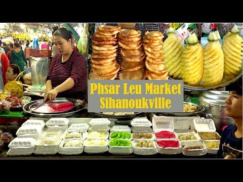 Take Motor Taxi to Phsar Leu Market at Sihanoukville | Lots of Great Street Foods To Try
