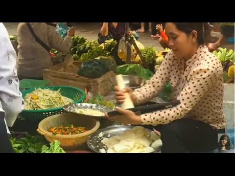 Market street food in Cambodia, Morning market in Phnom Penh, Asian market