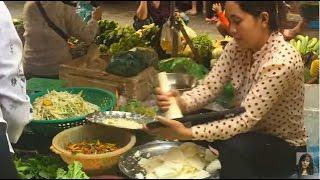 Market street food in Cambodia, Morning market in Phnom Penh, Asian market
