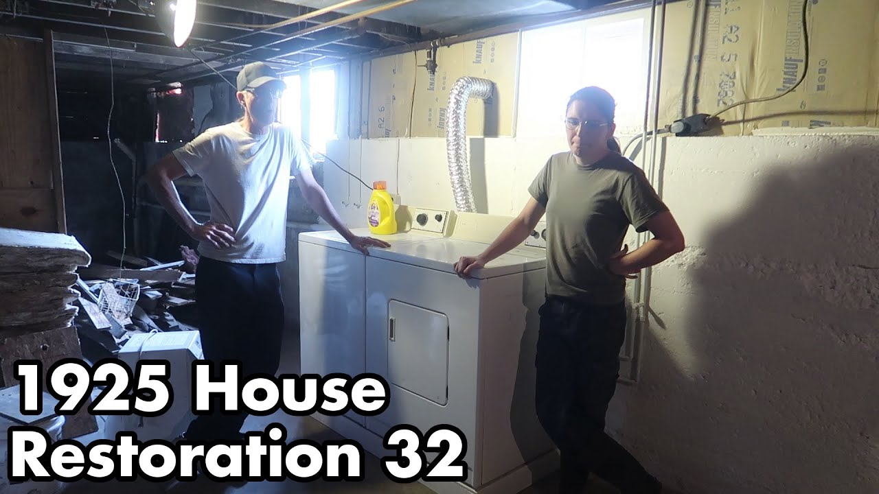 1925 Abandoned House Restoration 32: Bill's Been Busy Building Better Basement....uh... Laundry Room