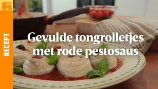 Gevulde tongrolletjes met rode pestosaus