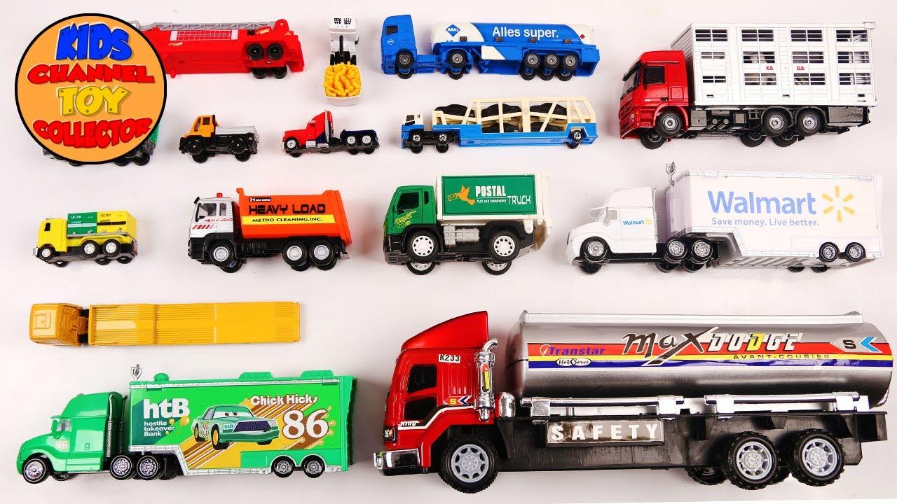 learn types of trucks for kids children toddlers dump truck fire truck disney hauler kids. Black Bedroom Furniture Sets. Home Design Ideas