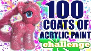 100 LAYERS OF ACRYLIC PAINT CHALLENGE! (Peeling Off Pony Skin)